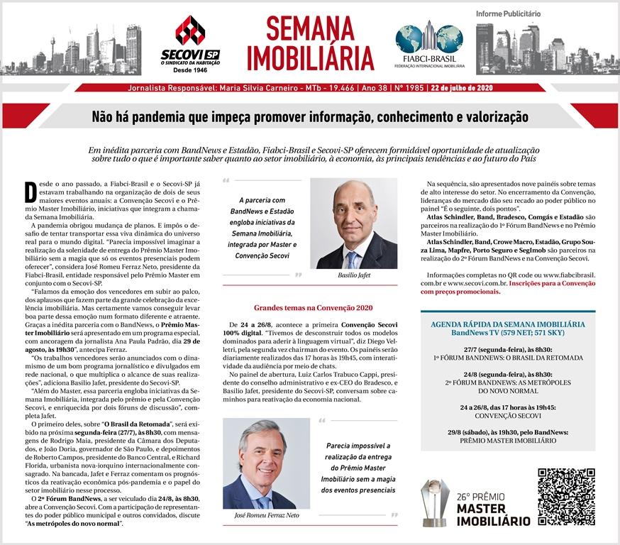 Formato do Prêmio Master Imobiliário é anunciado pelas entidades promotoras.